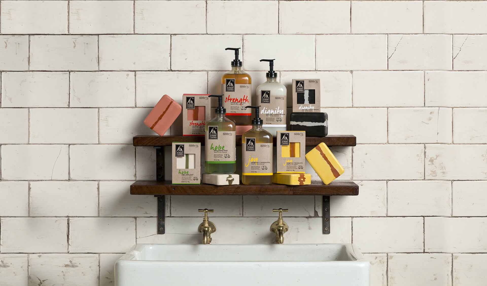 The Right To Shower products on the shelf